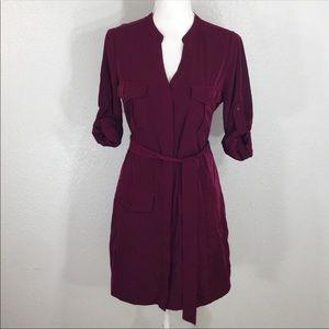 Express wine belted shirt dress